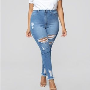 Little Miss High Rise Distressed Jeans -Light Blue